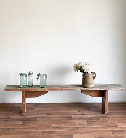 vintage grey barnwood bench