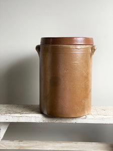 antique French stoneware preserving crock