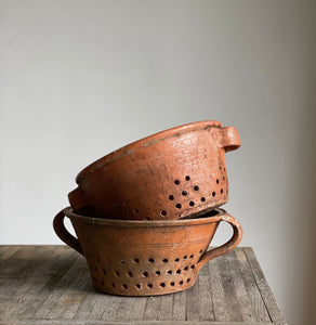 antique French terra cotta strainer