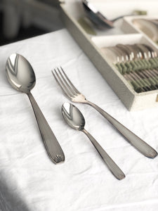 complete set of 37 vintage silver plated cutlery
