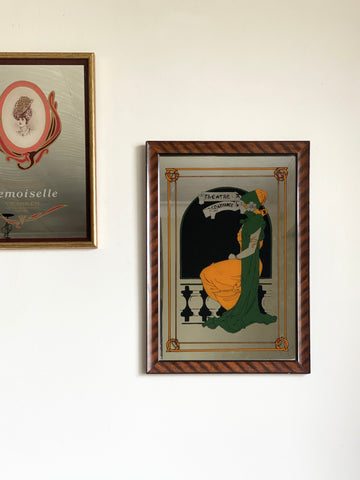 "vintage French advertising mirror, ""theâtre de la renaissance"""