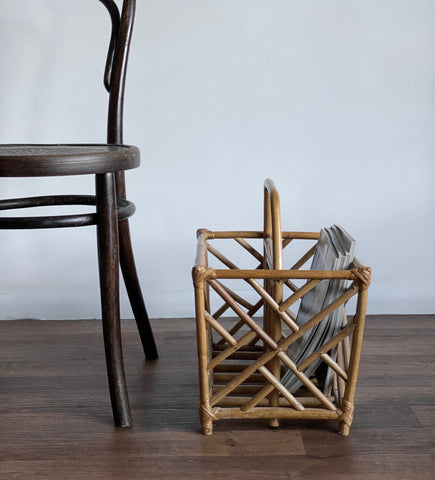 vintage bamboo and rattan magazine rack