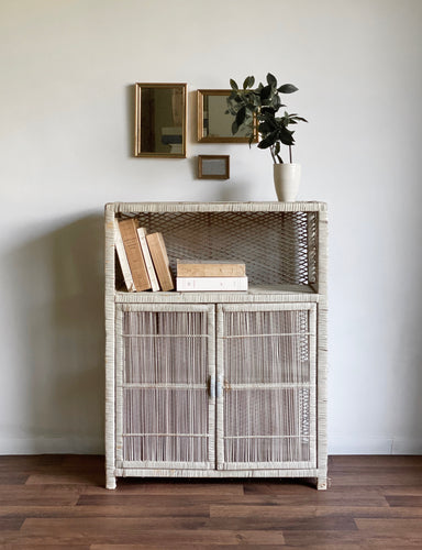vintage wicker shelf unit