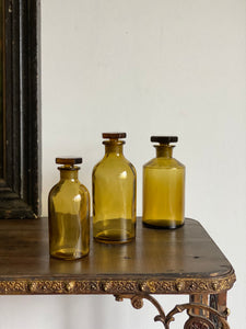 trio of vintage French apothecary bottles
