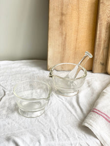 set of two vintage glass mortars and pestle