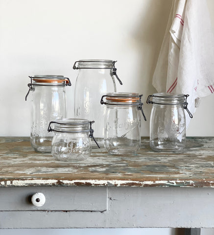 eclectic set of vintage French Le Parfait canning jars