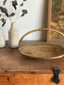 vintage woven basket with brass hardware