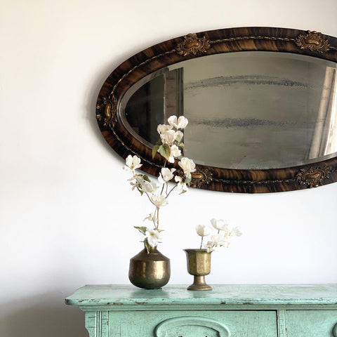 Edwardian tortoiseshell wood and plaster mirror