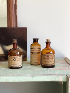 rare set of 3 small antique apothecary bottles