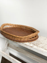 Load image into Gallery viewer, vintage wood and wicker tray