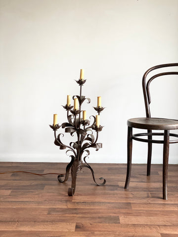 vintage wrought iron floral tree lamp
