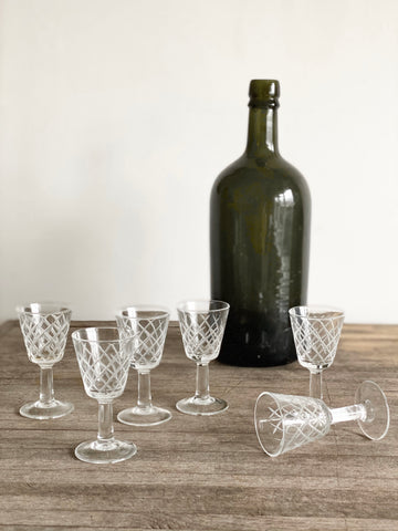 vintage French liqueur glasses