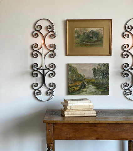 vintage Italian wrought iron candle sconce set