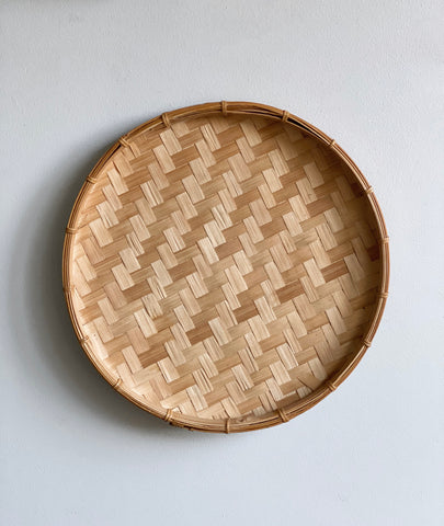 vintage round woven bamboo tray