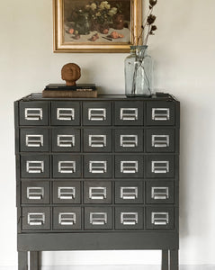 vintage index card cabinet