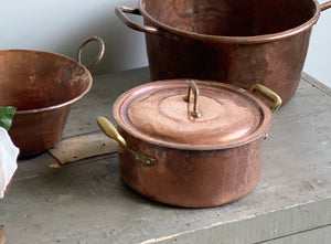 vintage French copper casserole