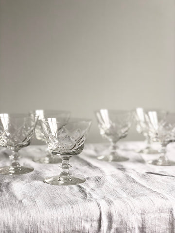 set of 6 vintage crystal aperitif glasses