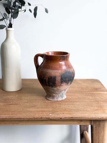 vintage terra cotta double handled pot