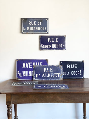 antique French enamel street signs