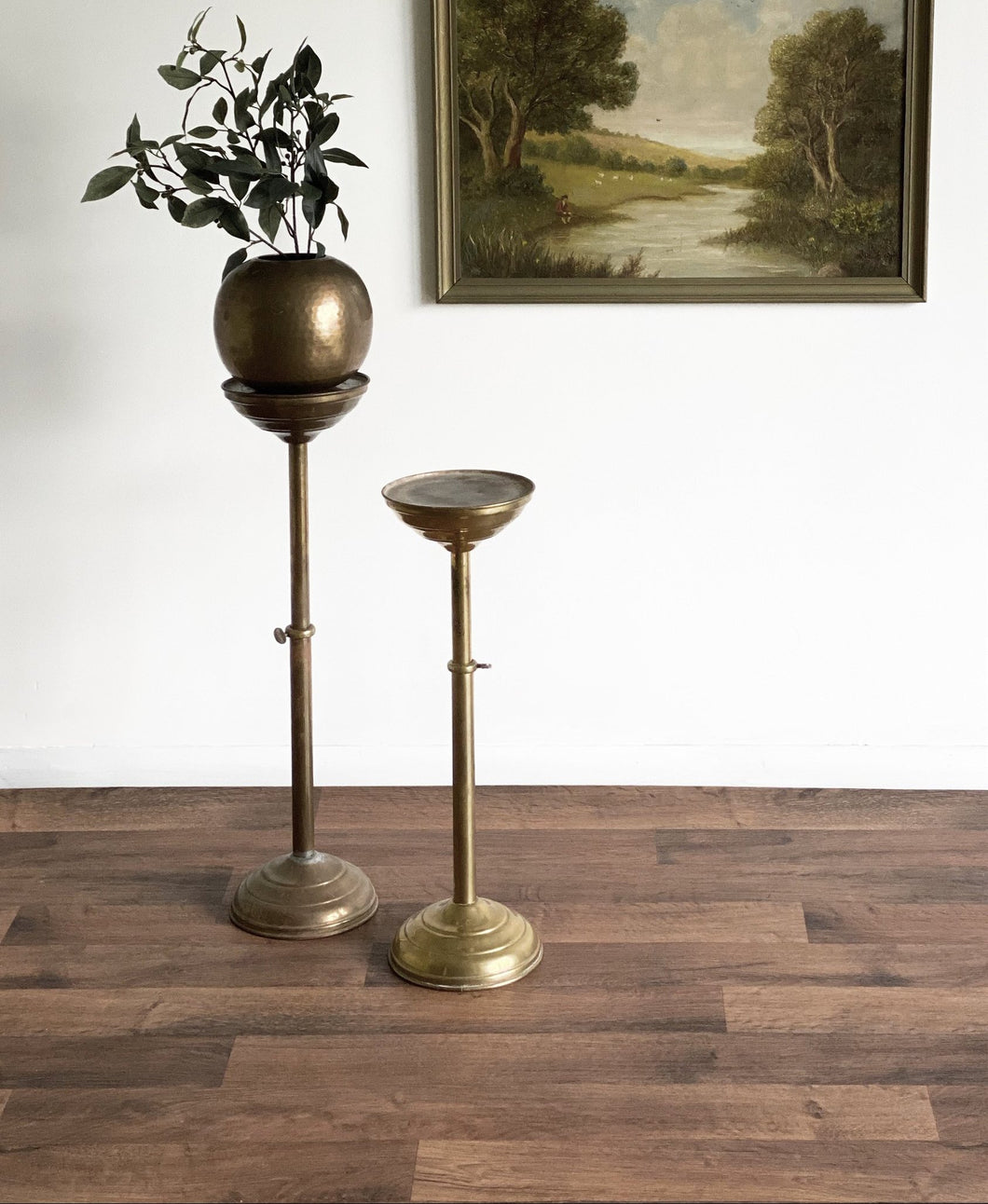 pair of vintage adjustable brass pedestals