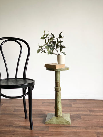 antique wood pedestal, green