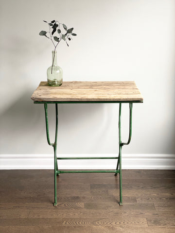 cast iron and barn wood table