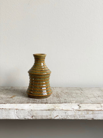 small striped pottery bud vase