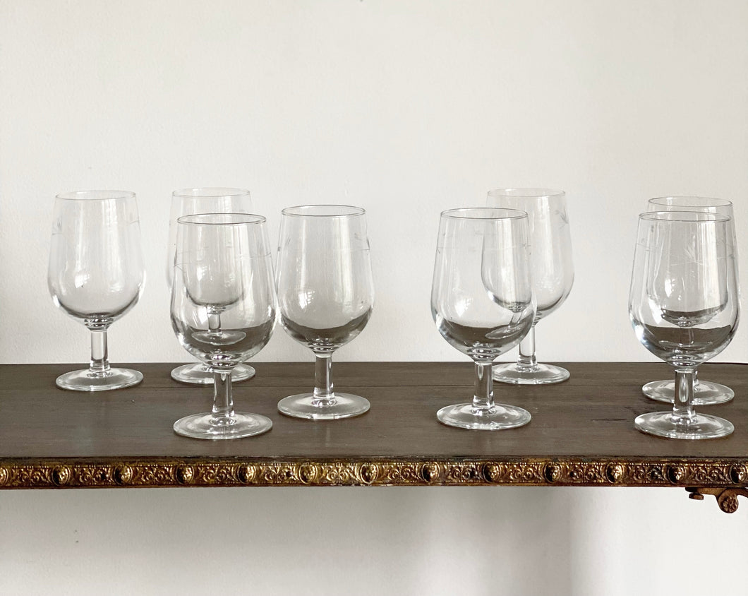 set of 8 vintage French wine glasses