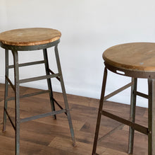 Load image into Gallery viewer, pair of vintage industrial stools