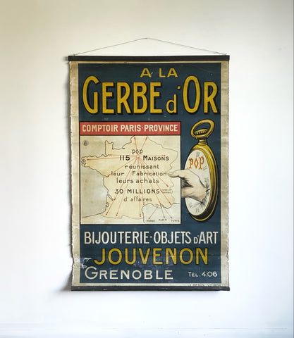 "antique French zinc-backed advertising poster, ""A La Gerbe d'Or"""