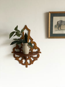 hand carved wood sconce shelf