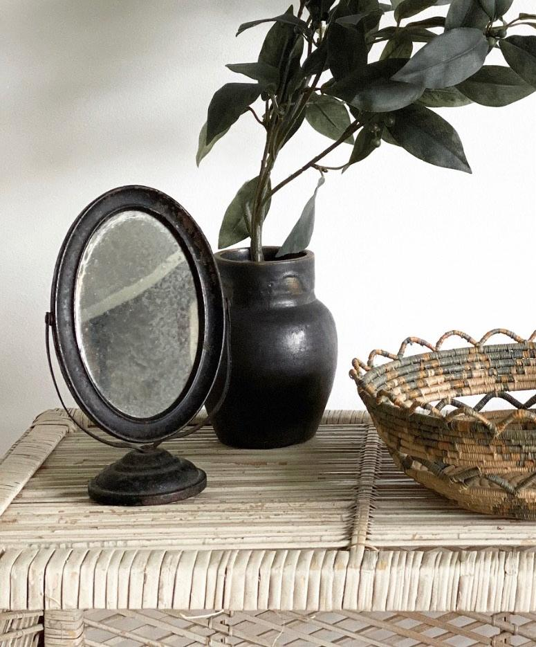 small antique rotating table mirror