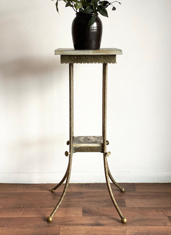 vintage solid brass & granite plant stand