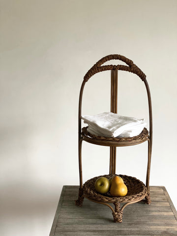 vintage woven two tier stand
