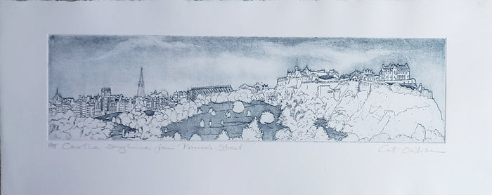 CASTLE SKYLINE FROM PRINCES STREET by Cat Outram