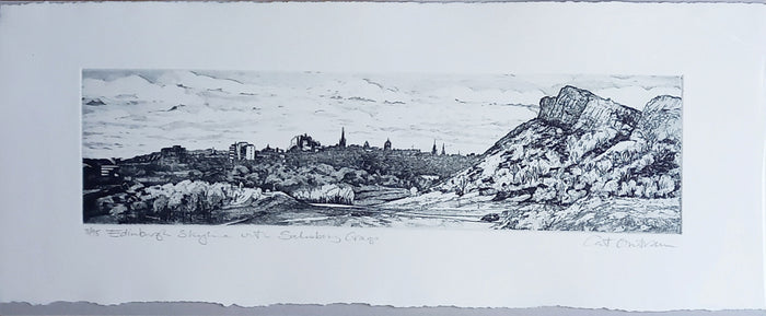 EDINBURGH SKYLINE WITH SALISBURY CRAGS by Cat Outram