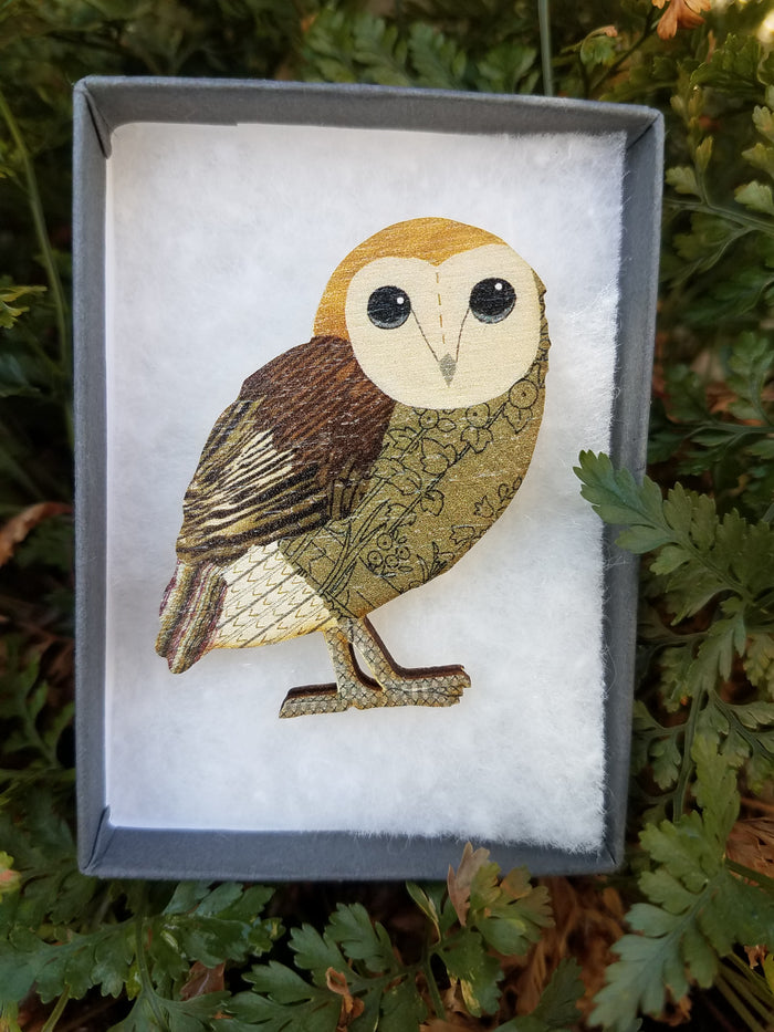 OWL WOODEN BROOCH