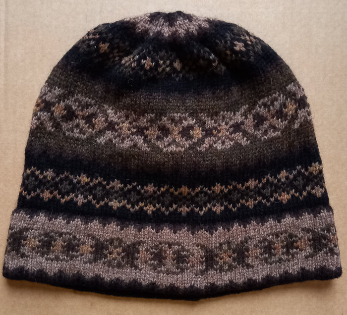 OLD SHETLAND BEANIE HAT - BROWNS by HEATHER KNITS
