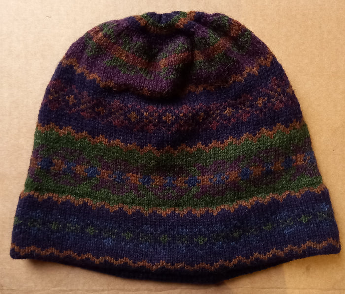 OLD SHETLAND BEANIE HAT - NAVY/GREEN by HEATHER KNITS