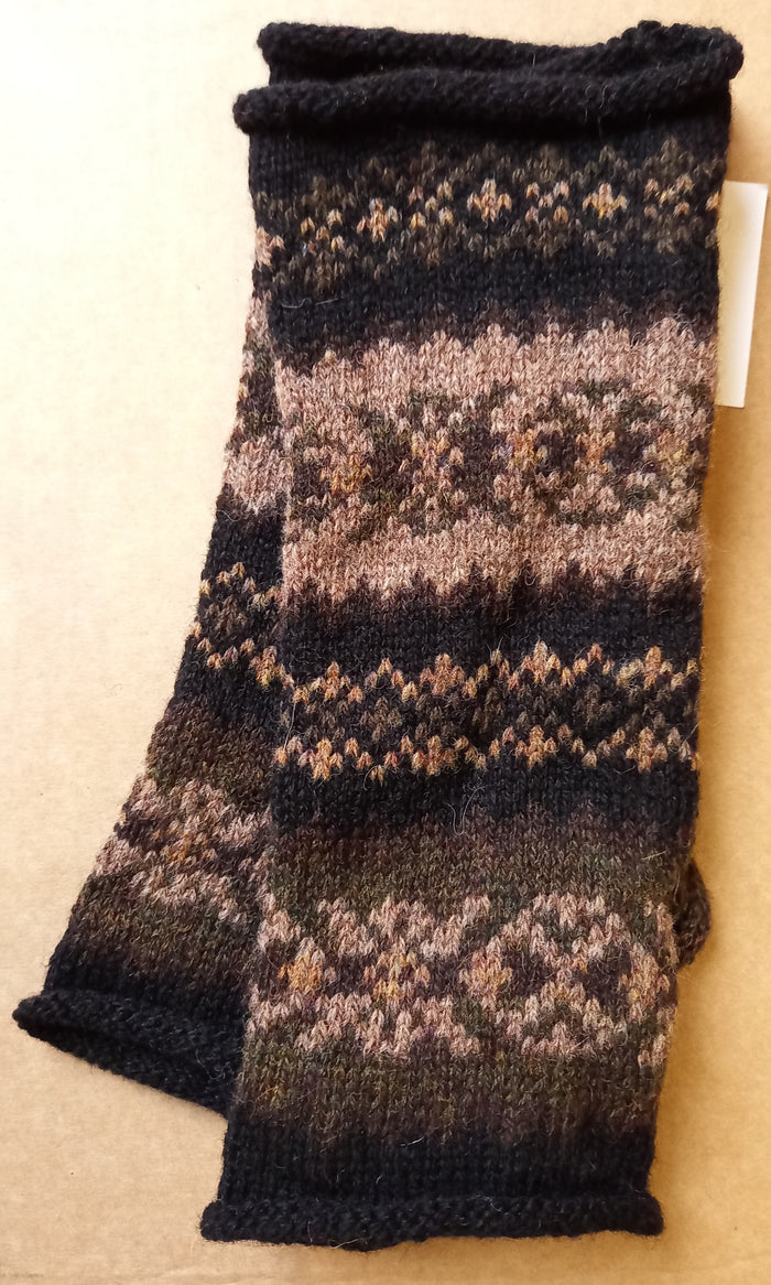 OLD SHETLAND BROWN MITTS by HEATHER KNITS