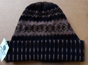 OLD SHETLAND TURN UP HAT - BROWNS  by HEATHER KNITS