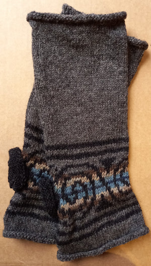 GREY SPIRAL MITTS by HEATHER KNITS