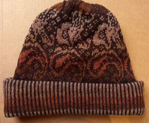 PAISLEY TURNUP HAT - BROWNS  by HEATHER KNITS