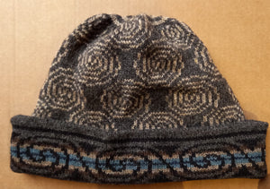 GREY SPIRAL TURN UP HAT  by HEATHER KNITS