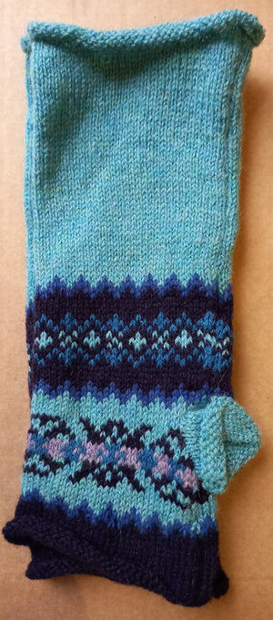 TURQUOISE MITTS by HEATHER KNITS