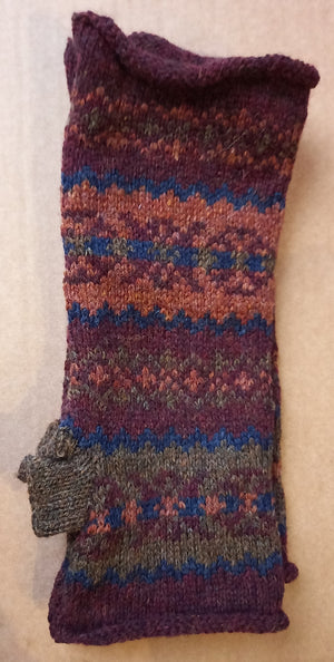 OLD SHETLAND WINE & GINGER MITTS by HEATHER KNITS