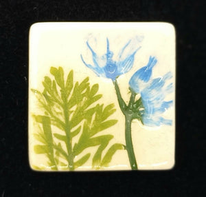 CERAMIC BROOCH square blue flower by JACQUI SELLER