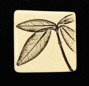 CERAMIC BROOCH - square black leaf by JACQUI SELLER