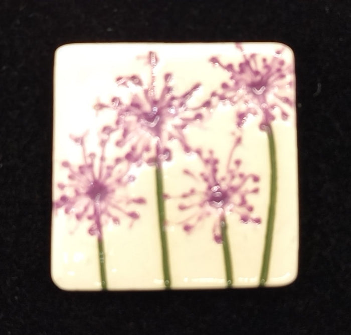 CERAMIC BROOCH - square pink agapanthus by JACQUI SELLER