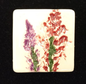 CERAMIC BROOCH square pink hyacinth by JACQUI SELLER